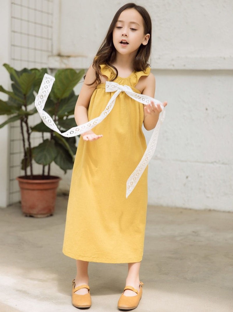 Fashion Little Big Girl Trimmed Off Shoulder Yellow Dress