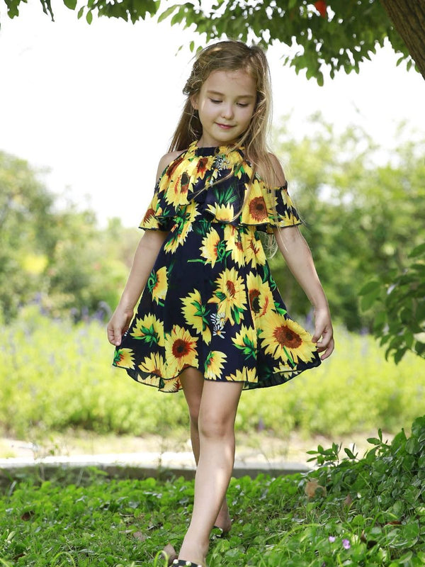 Baby Little Girl Sunflower Off Shoulder Dress