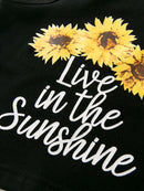 Baby Little Kids Sunflower Outfit Live in the Sunshine Black Tank Top Matching Shorts 2 PCS Summer