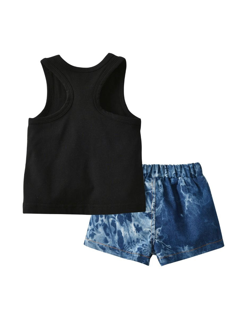 Baby Little Kids Sunflower Outfit Live in the Sunshine Black Tank Top Matching Shorts back