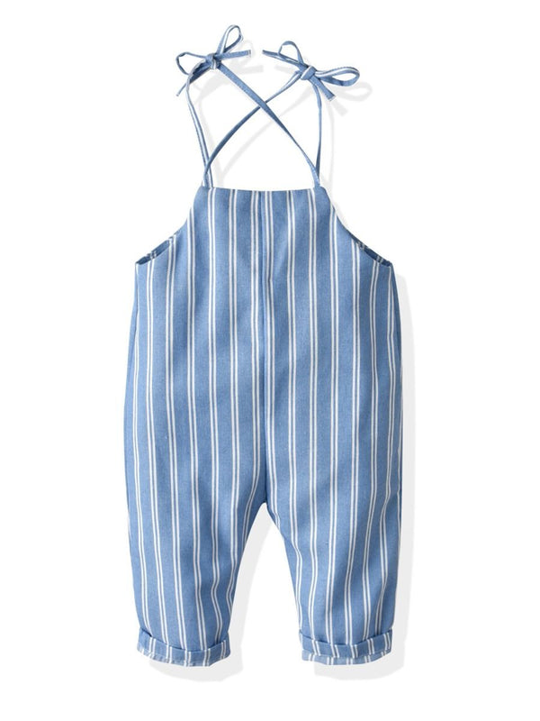 Stripe Buttoned Baby Little Kids Suspender Pants