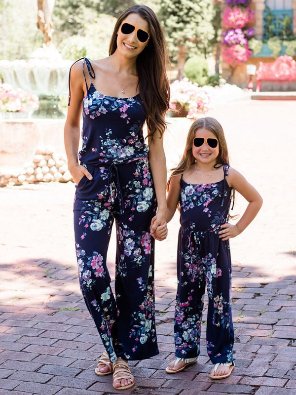 Fashion Mommy and Daughter Flower Printed Jumpsuit