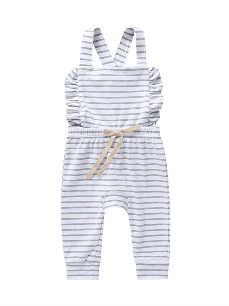 Girl Ruffle Overall-Gray