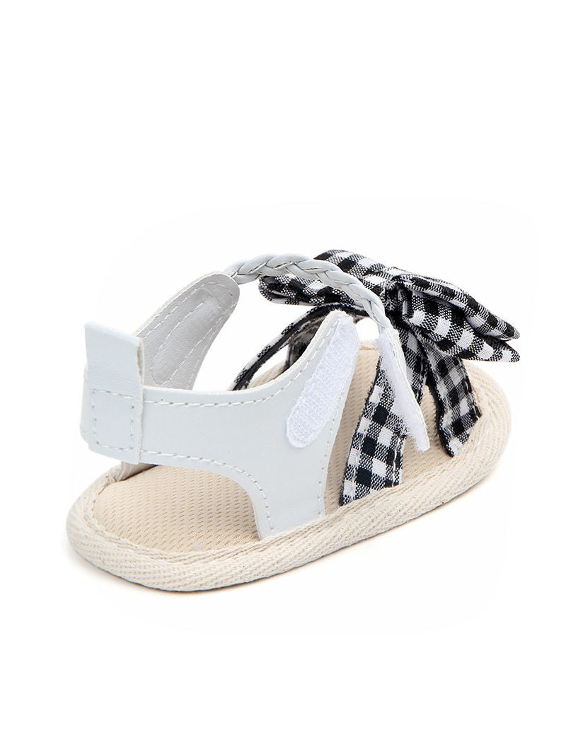 Solid Color Plaid Bow Trim Baby Girls Sandals Summer