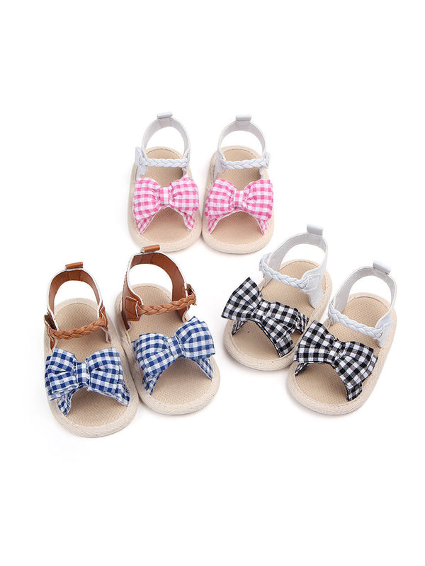 Solid Color Bow Trim Baby Girls Sandals