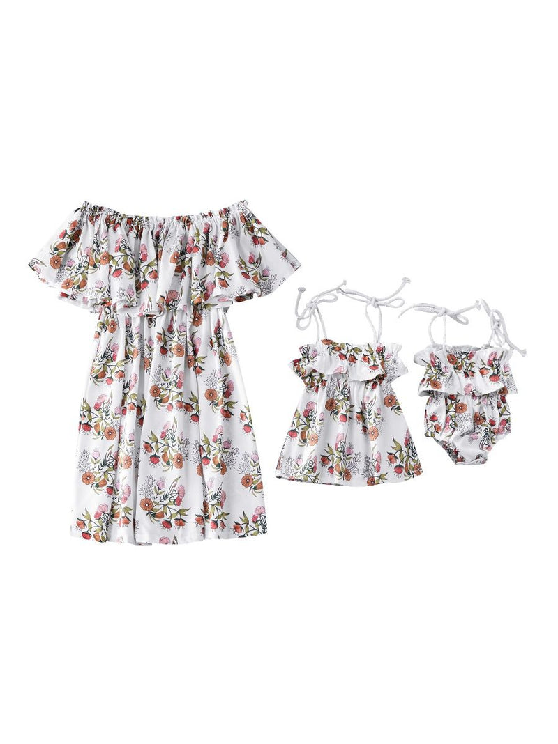 Mom and Me Flower Off Shoulder Dress