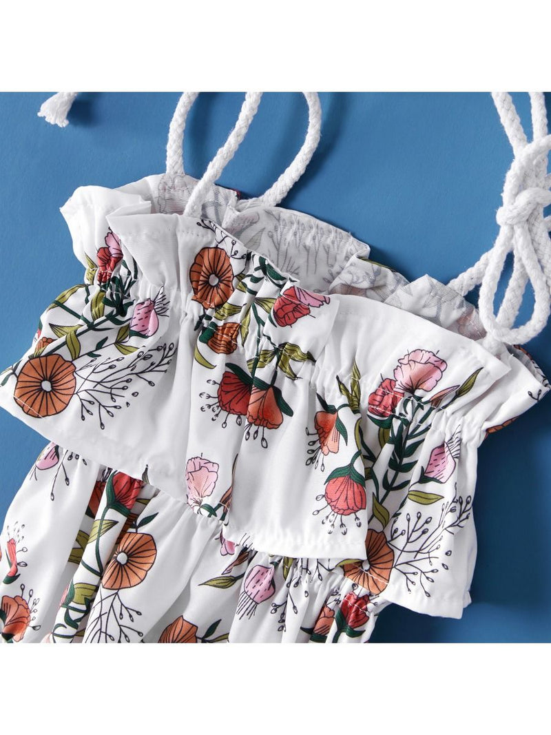 Mom and Me Flower Off Shoulder Dress Tie Onesie