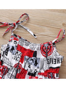 Fashion Allover Print Baby Girls Suspender Dress