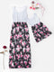 Mommy and Me Family Fitted Stripe Flower Patchwork Dress Summer
