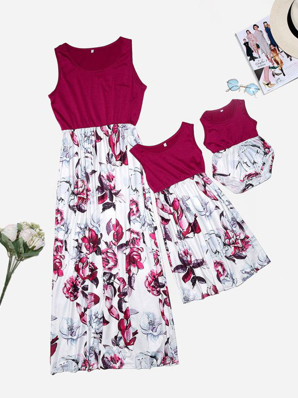 Mom&Me Flower Patchwork Sleeveless Beach Long Dress