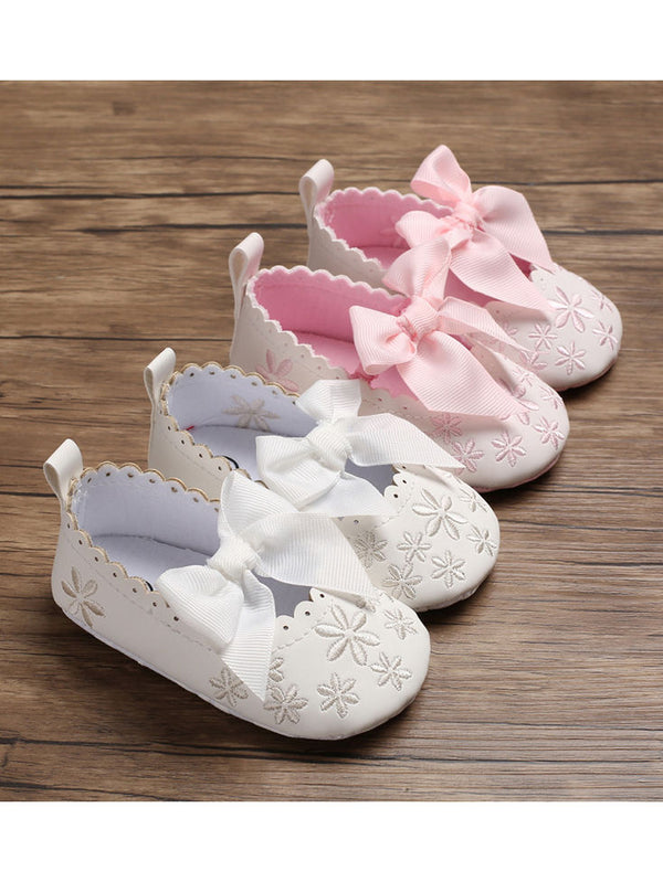Bow Flower Embroidery Baby Girl Shoes