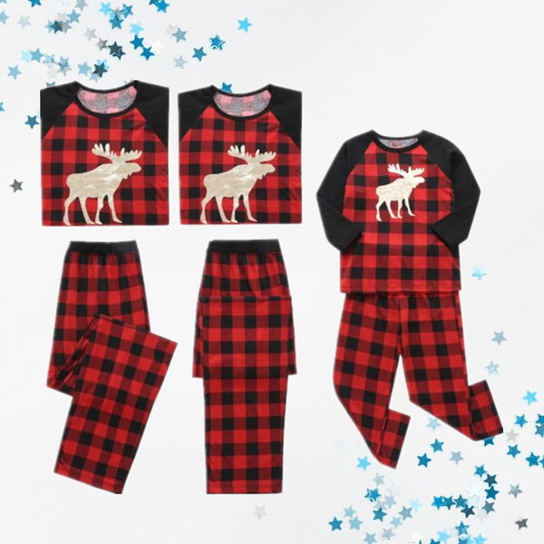 Family Matching 2-Piece Set Christmas Deer Checked Pajamas