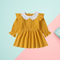 Solid Color Flower Trim Collar Muslin Baby Dress