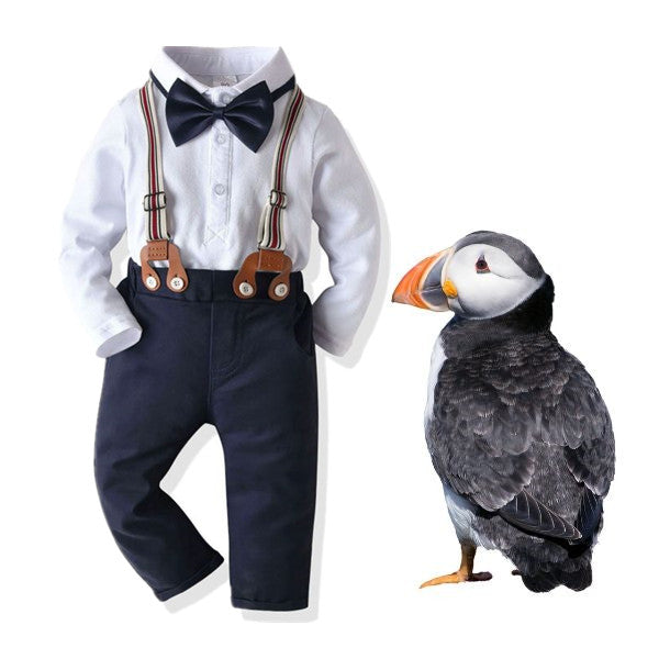 4-Piece Baby Boy Outfits Bow Tie Bodysuit Matching Suspender Pants