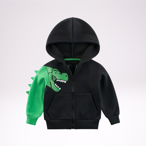 Cartoon Dinosaur Printed Fleece-lined Hoodie