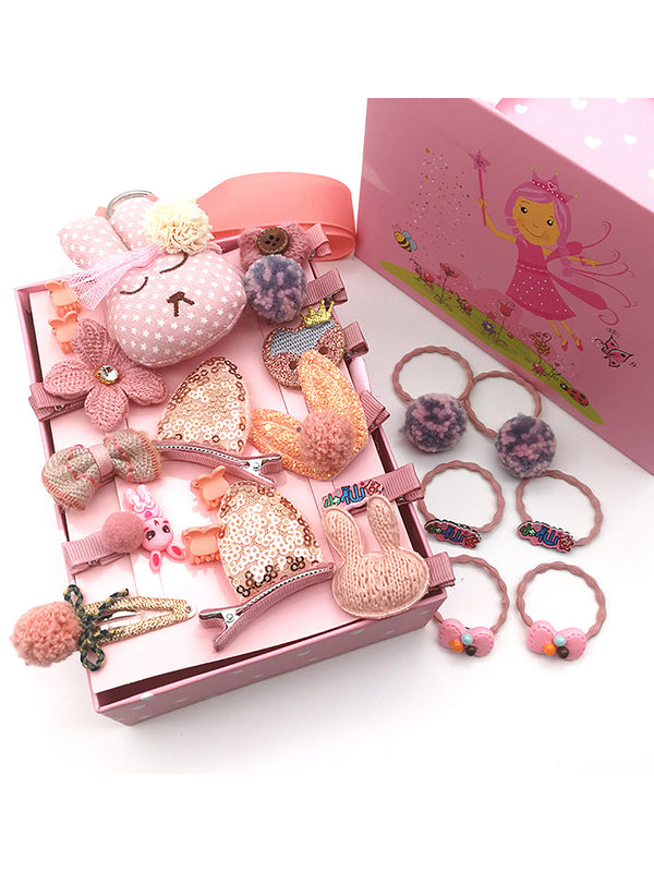 24pcs Adorable Bunny Ear Bow Hairwear Gift Box 11-Color