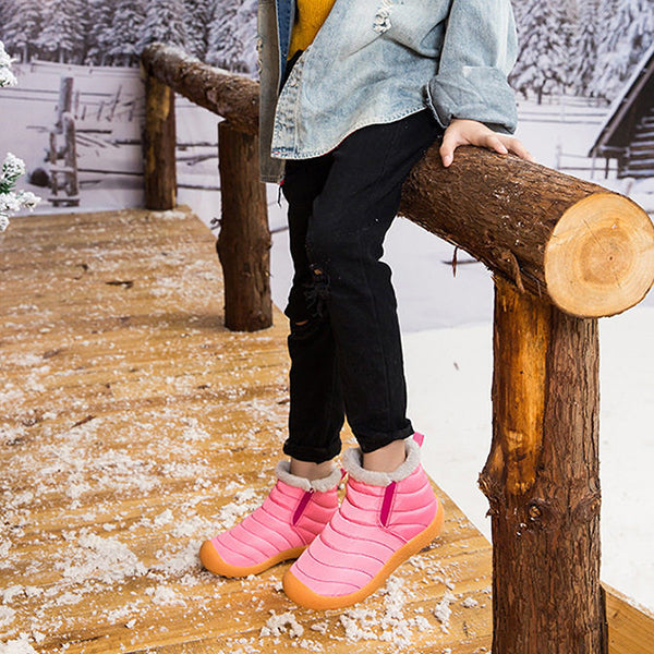 School Big Kids Outdoor Fleeced-lined Ankle Snow Boots Pink/Deepblue