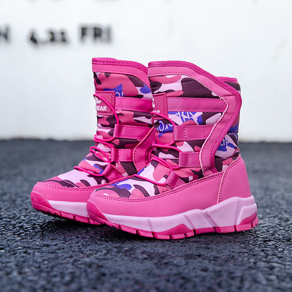 Fashion Kids Outdoor Camo High-top Snow Boots Black/Blue/Pink