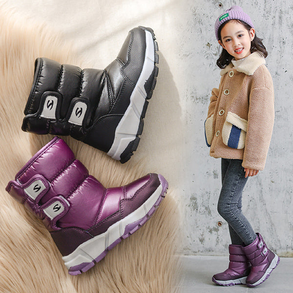 Toddler Big Kids Adult Waterproof Fur-lined Snow Boots Purple/Black