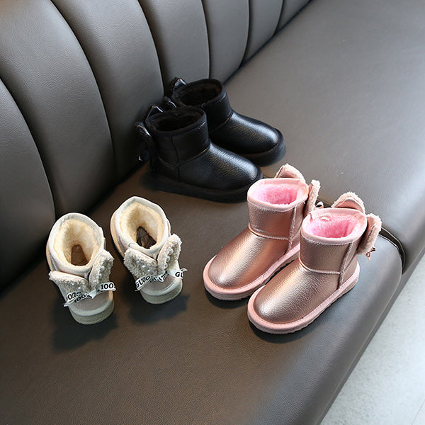 Lovely Girl Beaded Bunny Ear Ankle Snow Boots Beige/Pink/Black