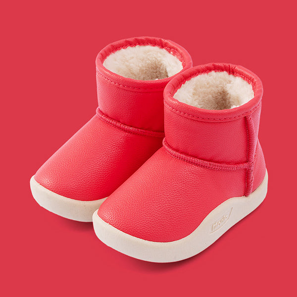 Baby Little Kids Solid Color Fleece Lining Casual Snow Boots-4 Colors