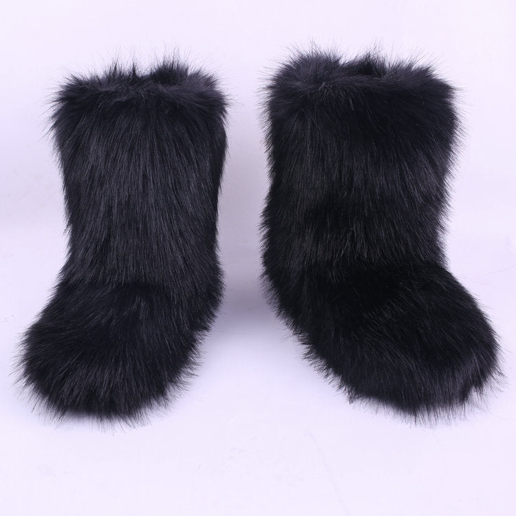 Women Winter Outdoor Solid Color  Faux Fur Boots