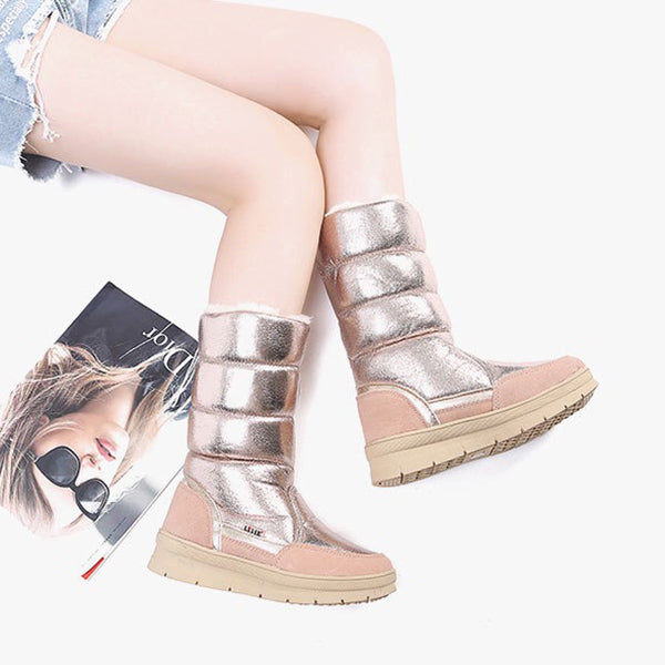 Fashion Girls Shiny High-top Flat Snow Boots Black/Silver/Champagne