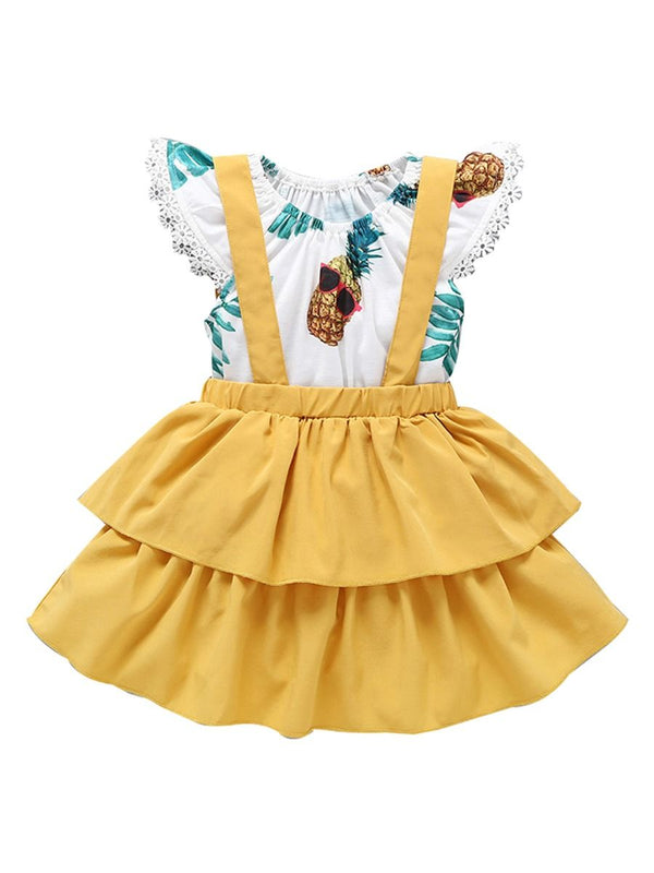 2-Piece Baby Clothes Off Shoulder Pineapple Print Flutter Sleeve Jumpsuit Matching Yellow Jumper Skirt Summer