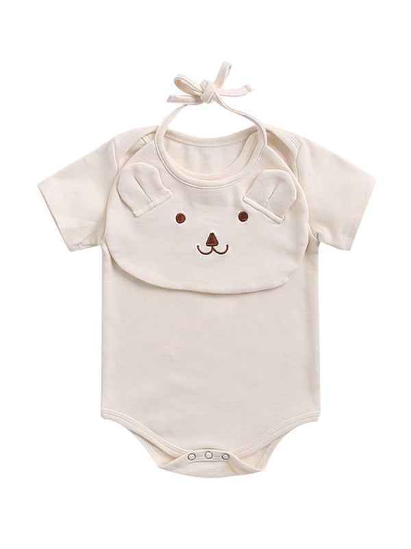 2-Piece Baby Jumpsuit Matching Bear Bib