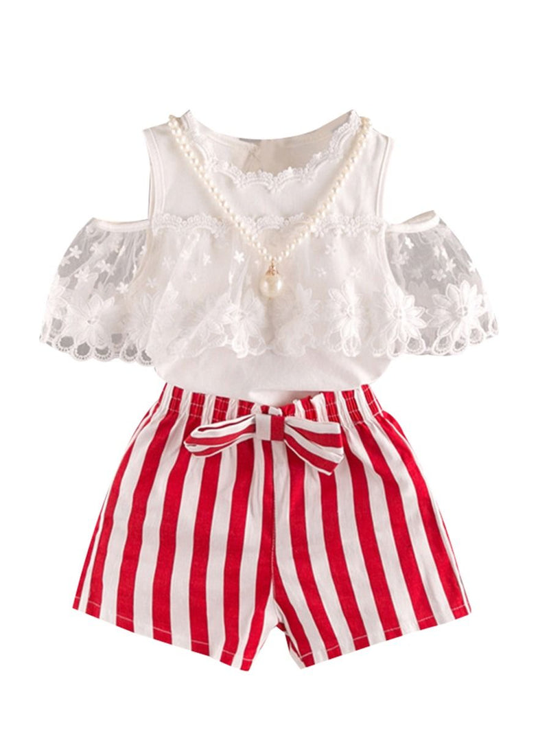 Lace Off Shoudler Top + Beaded Necklace + Stripe Shorts