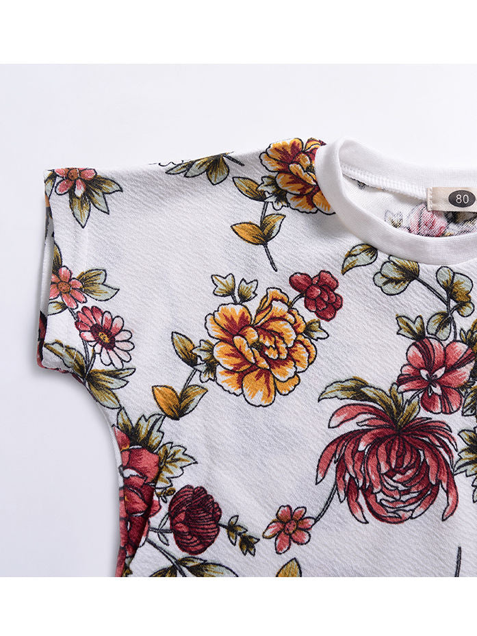 2-Piece Floral  Homewear Set Short Sleeved T-shirt+Trousers
