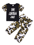 2-Piece Clothing Outfits The Chosen One Short-sleeved T-shirt+Camouflage Trousers Baby Girl