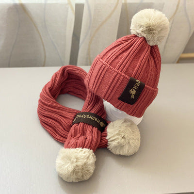 2-Piece Toddler Kids Unisex Pom-pom Knit Hat Matching Scarf  8-Color