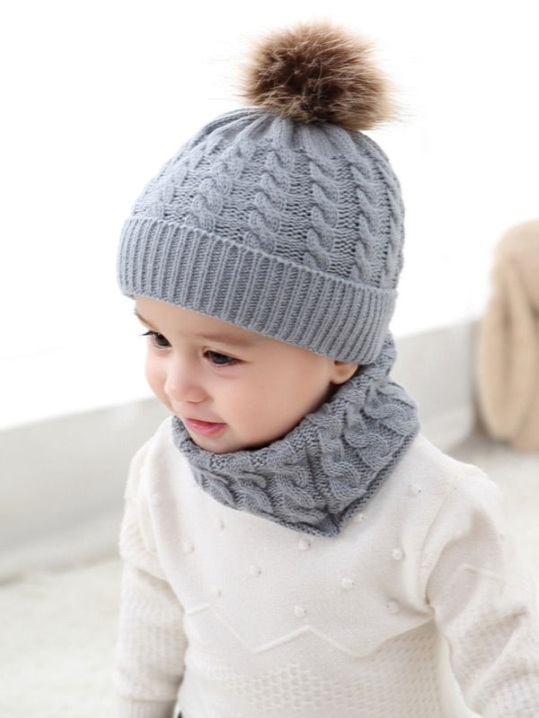 Knitted  Hat+ Scarf-gray