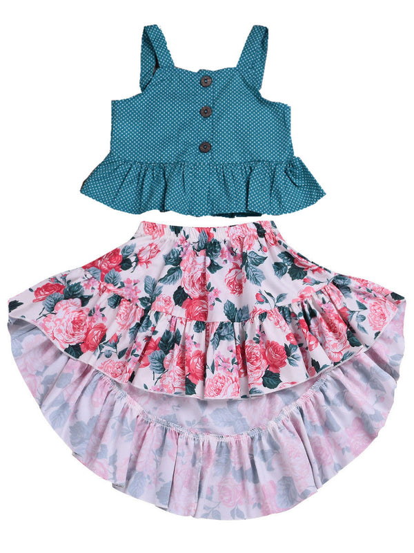 2-Piece Outfits Set Baby Toddler Big Girl Clothes Polka Dots Ruffle Top+Flower Asymmetrical Hemline Dress