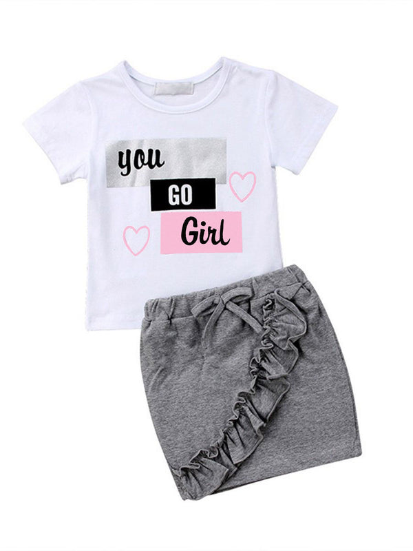 2-Piece Summer Children's Outfit Love Heart T-shirt Matching Ruffle Skirt