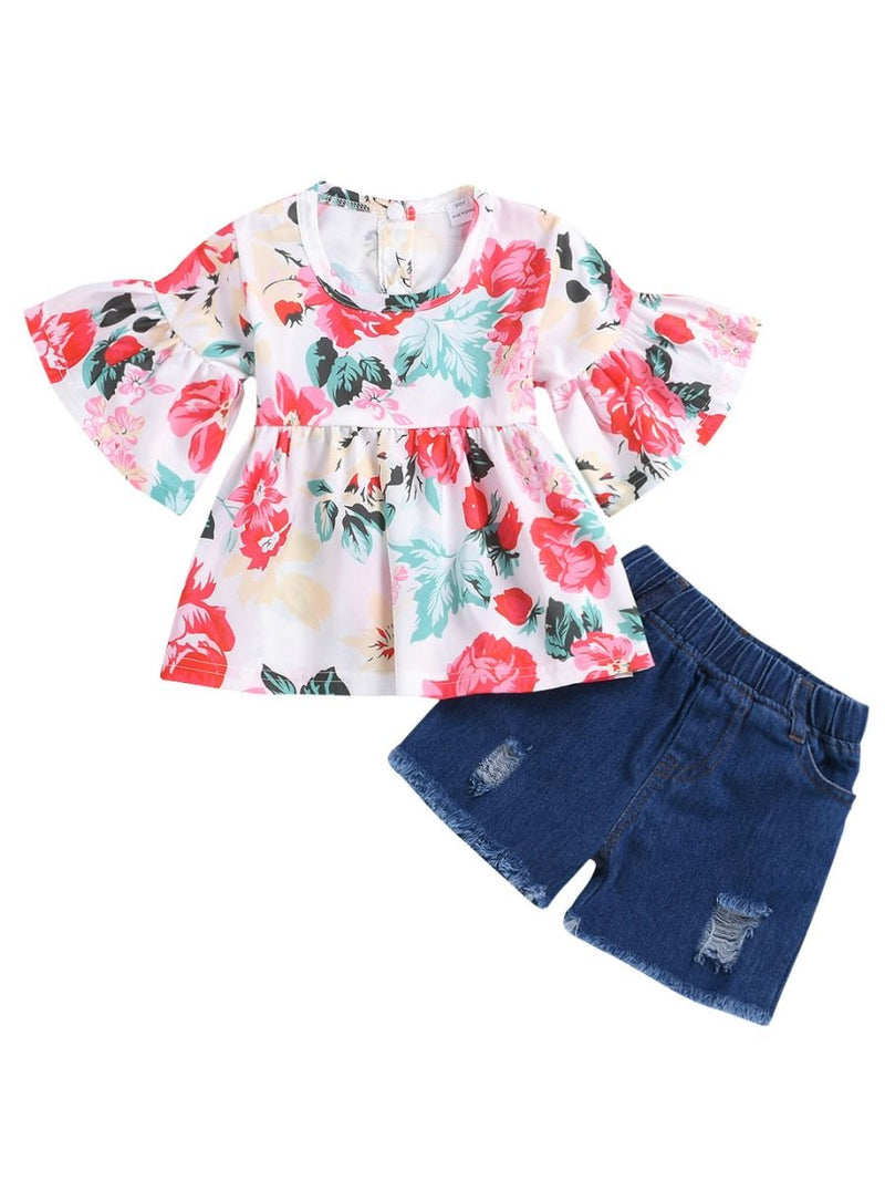 2-Piece Summer Clothes Little Infant Girl Outfits Flare-sleeve Flower Tunic+Denim Shorts