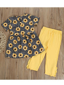 Dress Top Matching Yellow Ruffle Trousers back