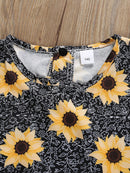 2-Piece Summer Kids Sunflower Clothing Outfit