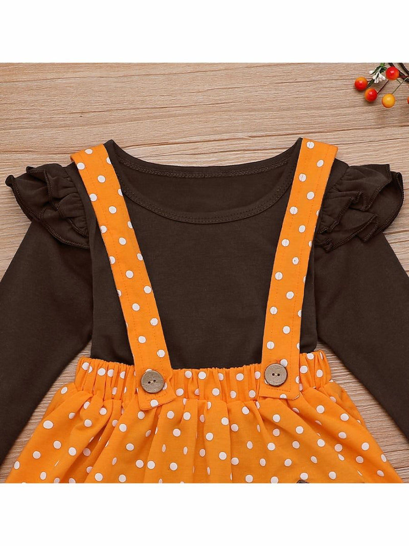 Baby Toddler Girl 2-Piece Thanksgiving Day Ruffled Sleeve Top & Turkey Jumper Skirt Set