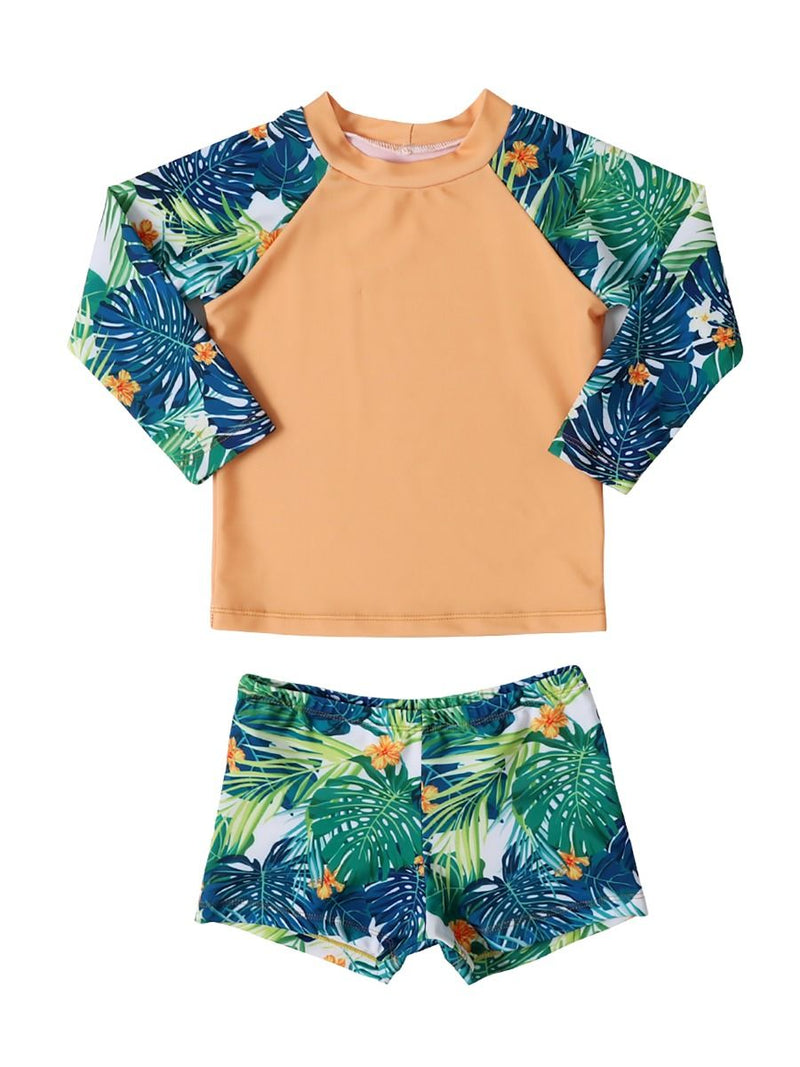 2-Piece Toddler Little Boys Flower Leaf Swimwear Outfits