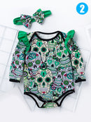 2-Pieces Halloween Skulls Print Baby Bodysuit Matching Headband Set