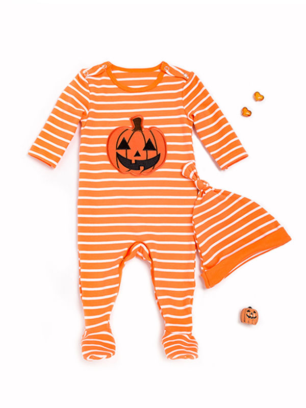 Striped Pumpkin Overall+Hat