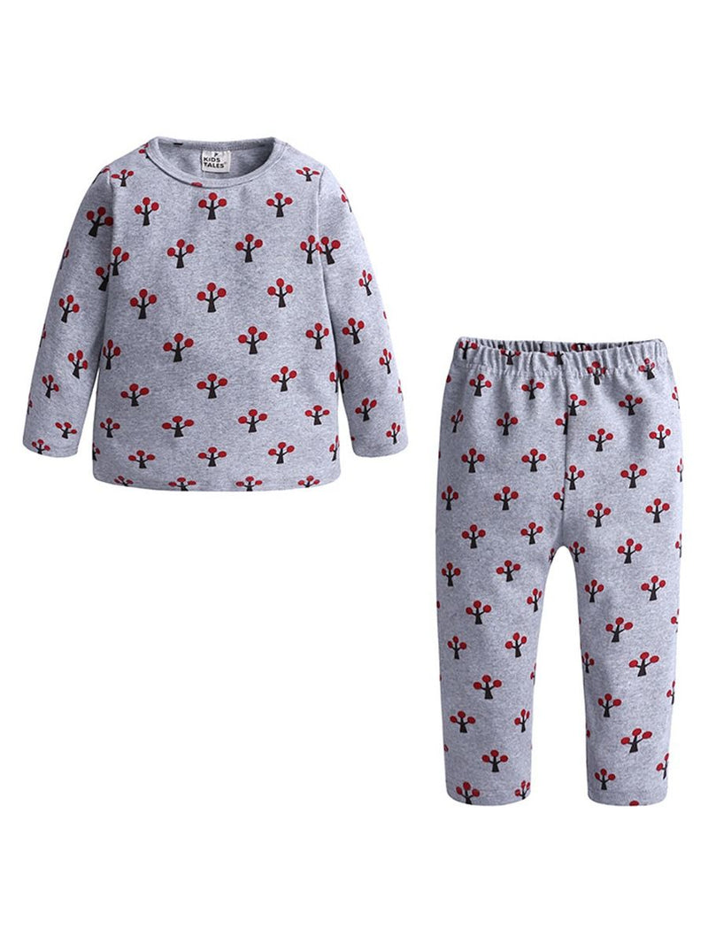 2-Piece Autumn Toddler Baby Kids Printed Sleepsuit Outfits-4colors