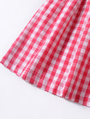 2-piece Summer Outfit Plaid Suspender Tank Tops+Skirt