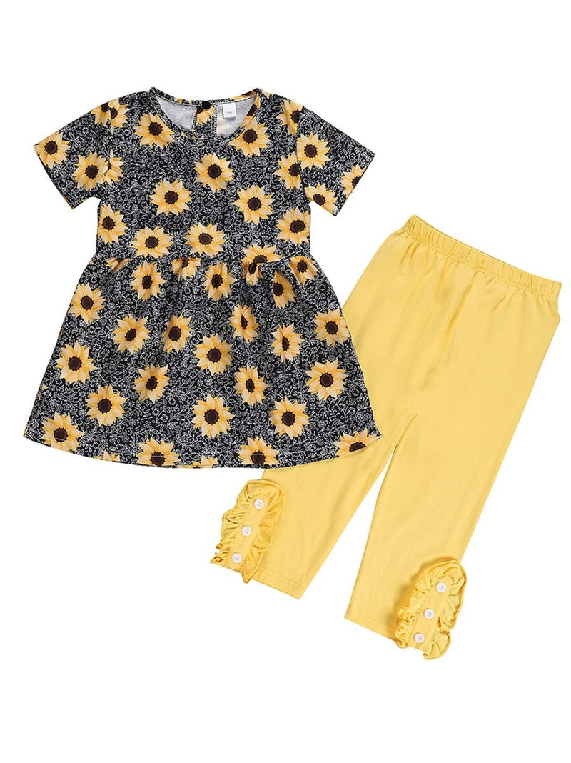 Dress Top Matching Yellow Ruffle Trousers