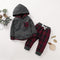 Winter Unisex Baby 2 Piece Fleece-lined Outfit Hoodie and Checked Pants