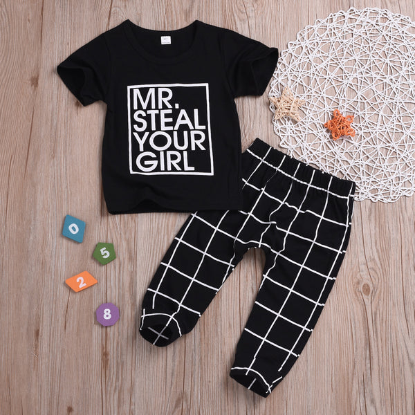 Casaul Clothing Outfits Set Short-sleeved T-shirt+Black Plaid Pants for Spring Summer