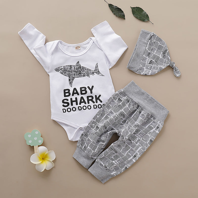 3-Piece Fall Baby Boy Outfit Shark Onesie + Pants+Hat
