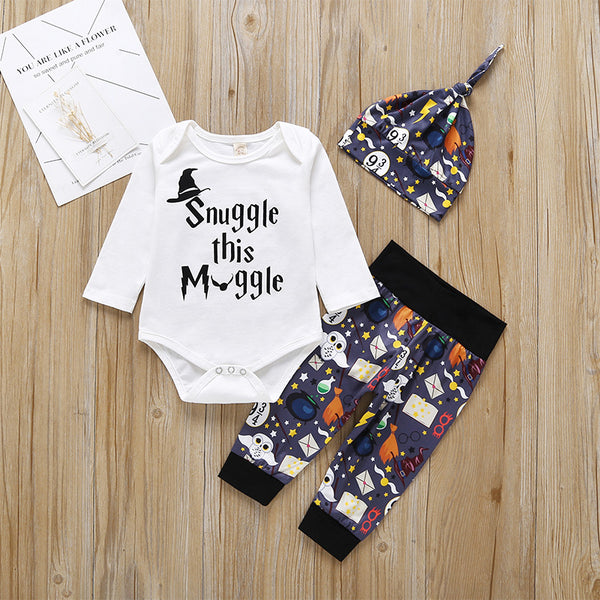 3-Piece Baby Halloween Printed Clothes Set Bodysuit+Trousers+Hat